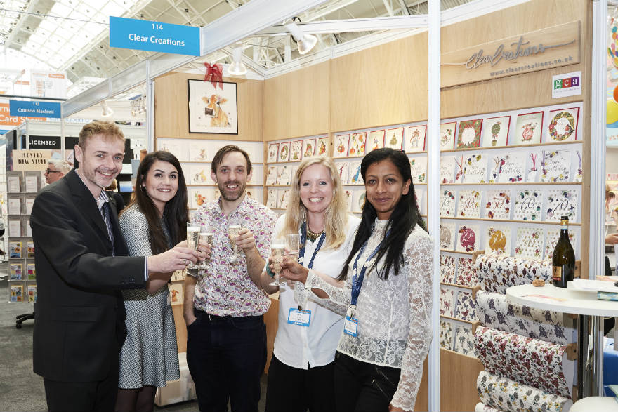 (Right-left) Clear Creations' Tanya Darling and Vicki Pryor toasted the company's 10th anniversary with fellow neighbouring exhibitors Simon Wadsworth (Wraptious), Hannah Malekzad and Chris Bryan (both from Second Nature).