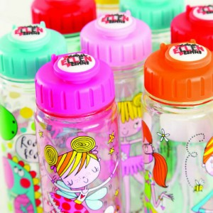 Brightly coloured drink bottles featuring Rachel Ellen characters